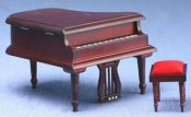 Baby Grand Piano W/Bench, Mahogany