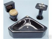 Dollhouse Miniature 1/12 scale Black CORNER BATH SET