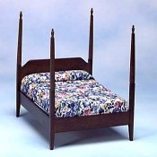 Shaker Style Four Poster Double Bed, Walnut